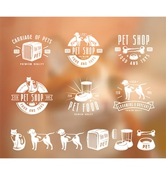 Set of pet care labels badges and design elements vector image