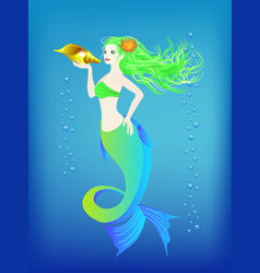 underwater world little mermaid and seashell vector image vector image