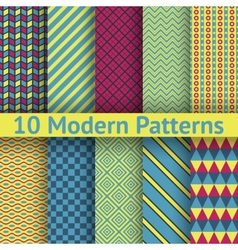 10 Different modern seamless patterns tiling vector image