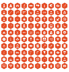 100 phobias icons hexagon orange vector image