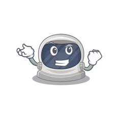 A dazzling astronaut helmet mascot with happy face vector