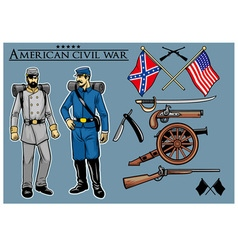 american civil war set vector image