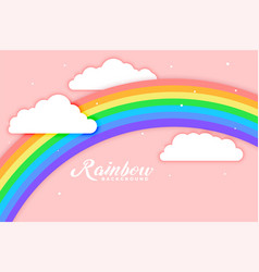 arched rainbow with cloud pink background vector image