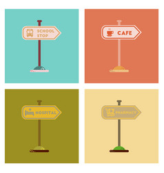 assembly flat icons school stop pharmacy cafe vector image