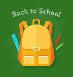 back to school yellow backpack office supplies vector image