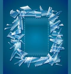 Broken glass frame decorative vector