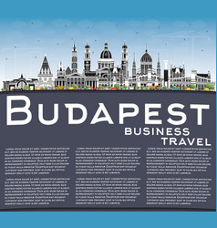Budapest hungary city skyline with gray buildings vector
