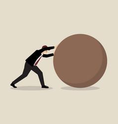 Businessman pushing huge sphere vector