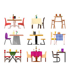 cafe tables in restaurant setting dining vector image