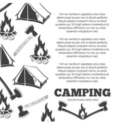 Camping poster with fire axes tent vector