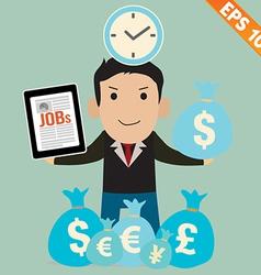 Cartoon Businessman with financial money vector