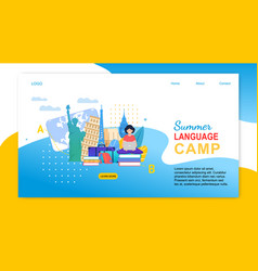 Cartoon girl with notebook learn languages abroad vector