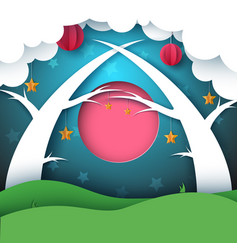cartoon paper forest night landscape moon cloud vector image