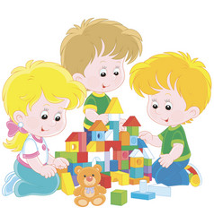 children playing with bricks vector image