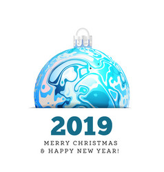 christmas ball in the style of marble ink vector image