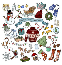 christmas doodles sticker objects winter vector image