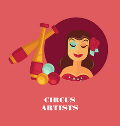 Circus artists promo posterwith female juggler vector