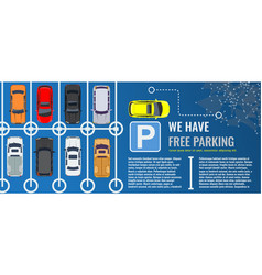 City parking lot with a group different cars vector