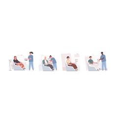 Collection cute funny men and women sitting vector