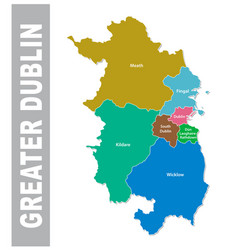 Colorful greater dublin area administrative map vector