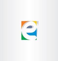 colorful icon e letter e sign design vector image