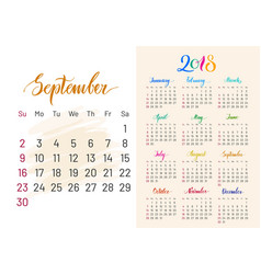 Colorful planner 2018 semptember separately vector