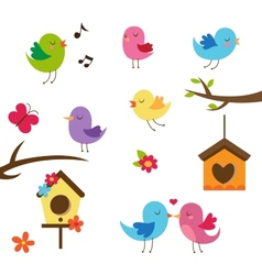 Cute birds Design elements set vector image
