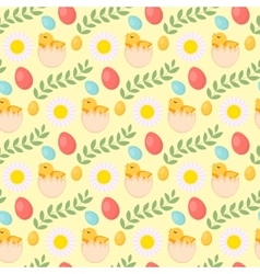 Cute Easter seamless pattern with chick eggs and vector