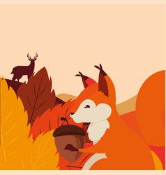 Deer squirrel acorn happy autumn season flat vector