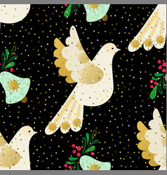 Dove of peace seamless christmas pattern vector