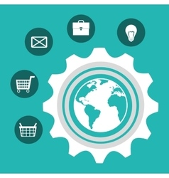 earth planet and shopping design vector image