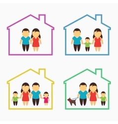 Family home icons set vector
