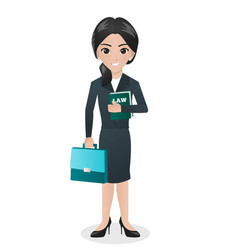 Female lawyer holding book of law and bag vector
