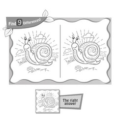 find 9 differences game snail vector image