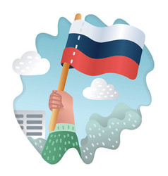 flag of russia with human hand vector image