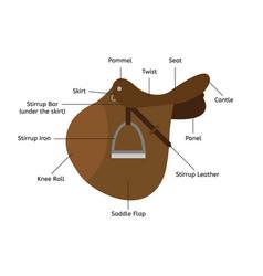 Flat cartoon saddle parts names vector