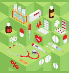 Flat symbols for ad about pharmacy medical items vector