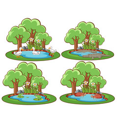 four forest scenes with many animals vector image