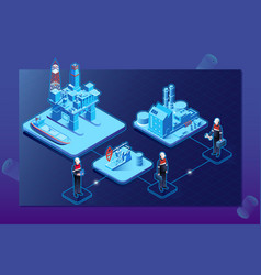 Gas oil industry isometric flowchart with offshore vector