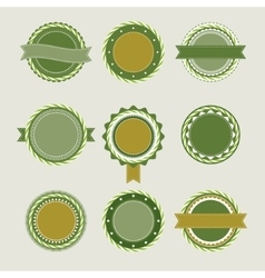 Green vintage badges templates vector