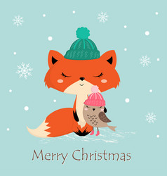 Greeting card with fox vector