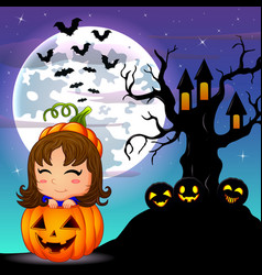 Halloween night background with cute little girl i vector