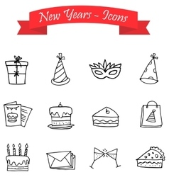 Hand draw element New Year of icons vector image
