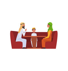 happy arab family in national clothes in cafe vector image