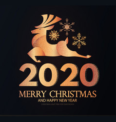 happy new 2020 year elegant gold holiday label vector image