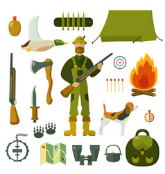 Hunting set objects vector