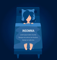 Insomnia concept in simple flat style vector
