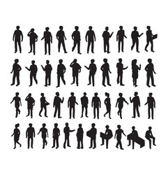 Isometric 3d set silhouettes vector