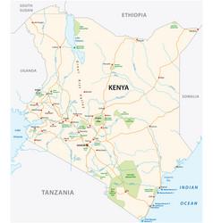 kenya road and national park map vector image