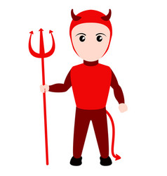Kid with a devil costume halloween vector